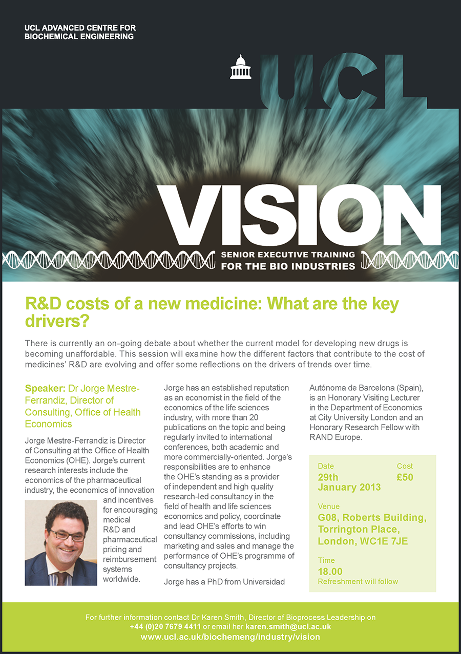 UCL Vision seminar on cost of developing new drugs