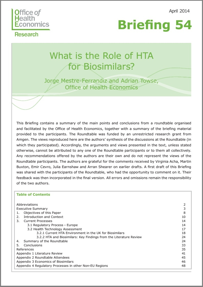 What is the Role of HTA for Biosimilars?
